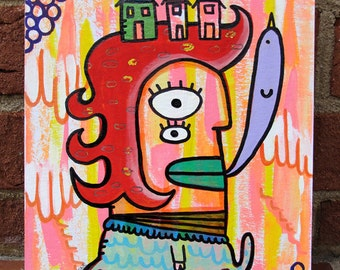 Original Mixed Media Surreal Pop Art Painting The Bird House Girl