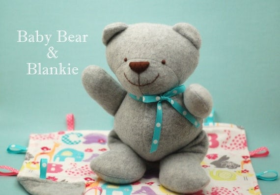Baby Bear and Blankie PDF Sewing Pattern - a quick and easy baby gift to sew