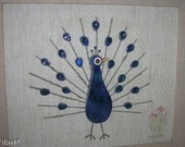 RESERVED for heidihodge Vintage Peacock Mixed Media Art Retro