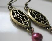 SALE - Fall Filigree Brass and Raspberry Pearl Earrings