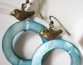 SALE - Pretty Brass Birds on Teal Shell Earrings