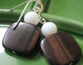 SALE 50% off - Wood and White Earrings