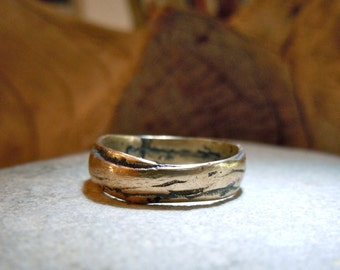 Bronze Precious Metal Ring Band Layered Natural Irregular Edges Unisex Mens Lady Wedding #1007
