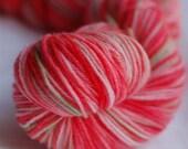 Red Hibiscus- Handpainted Yarn (Sock)