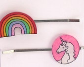 Unicorn and Rainbow hairpin set, two bobbypins, hair accessories, Ratgirl by Krissy Ross