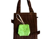 ON SALE - Laptop Tote Bag And Zip Pouch - Tree Trunk And A Leaf (Dark Brown Apple Green)
