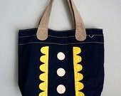 ON SALE - Market Tote Bag - Forest Garden Tote (NavyBlue Yellow)