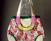 Tote Bag - SALE - Leaf Pocket Bag (Scarlet Blossoms) Green