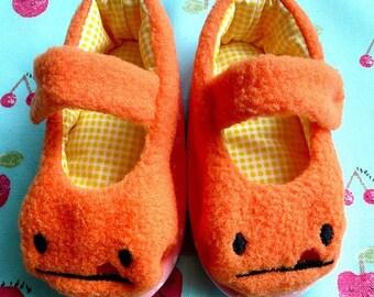 Prewalker MaryJanes, Baby MaryJanes, Prewalker Shoes, Baby Shoes, Infant Shoes, Newborn Shoes, Cheeky Monster MaryJanes, ORANGE COLOR