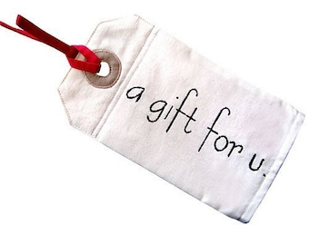 ON SALE - Zip Pouch - Gift Tag Pouch (A Gift For U)
