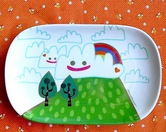 Cute Melamine Plate, plastic tray with cute print, Melamine tray, Plastic plate with Nature print, perfect for tea - A Lovely Day print
