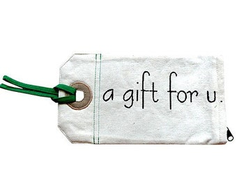 ON SALE - Zip Pouch - Gift Tag Poche (A Gift For U) - Green