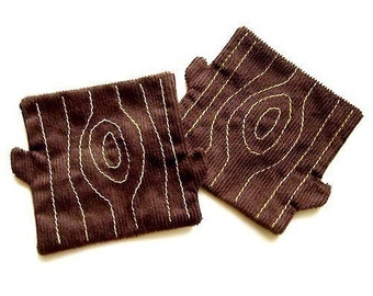 Tree Stump Coasters, Tree Trunk Fabric Coasters, Brown Tree Coasters, Coaster Set, Tree Trunk Coaster Pair (Brown)