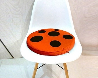 Mushroom Seat Cushion, Mushroom Floor Cushion, Round Cushion, Chair Cushion, Seat Cushion, Floor Cushion, ORANGE Mushroom BLACK Dots