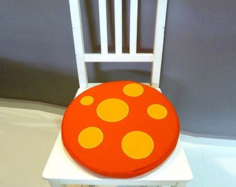 Mushroom Seat Cushion, Mushroom Floor Cushion, Round Cushion, Chair Cushion, Seat Cushion, Floor Cushion, ORANGE Mushroom Yellow Dots