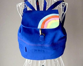 Rainbow Backpack - Small Blue Backpack - Rainbow Backpack For Petites - Over The Rainbow BackPack For Kids - Royal Blue Color
