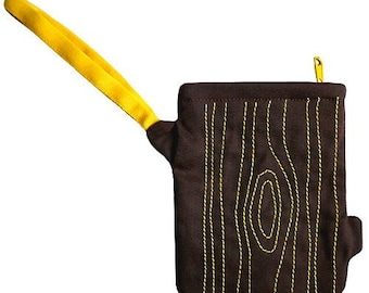 Clearance Sale, Tree Stump Wrist Pouch, Tree Stump Wristlet, Yellow Color