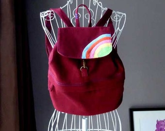 Rainbow Backpack - Small Maroon Backpack - Rainbow Backpack For Petites - Over The Rainbow BackPack For Kids - BURGUNDY RED Color