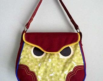 Clearance SALE Owl Handbag, Owl Tote Bag, Owl Purse, Owl Carryall, Hoot The Owl Bag, Green Japanese Bunny Rabbit Fabric print