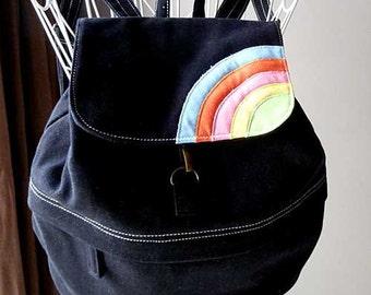 Black backpack, Rainbow backpack, small backpack, kids backpack, petite adults bag, Fabric backpack, Vegan bag, Over The Rainbow Backpack