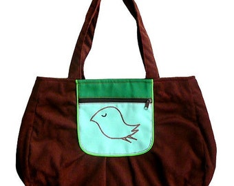 ON SALE - Tote Bag - The Snotty Bird Bag (Cocoa And Green)