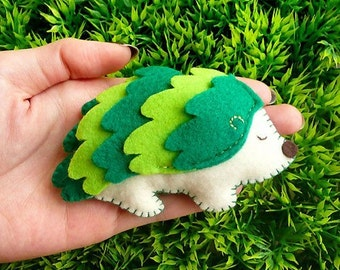Mini Hedgehog Toy, Felt Toy, Tiny Hedgehog, Hedgehog Toy, Miniature Hedgehog, Hedgehog Plush Toy, Soft Toy, Wee Rebel Hedgehog - Green color