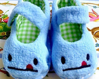 Baby Fabric Shoes, Prewalker Fleece MaryJanes, Newborn MaryJanes, Infant Shoes, Baby MaryJanes, Blue Baby Shoes, Cheeky Face Baby