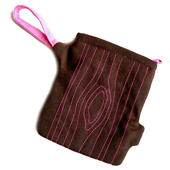 Clearance Sale, Tree Stump Zip Pouch, Tree Trunk Finger Pouch, Brown & Pink Color