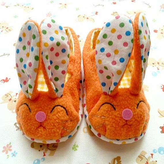 Bunny Baby Shoes, Rabbit Shoes, Bunny MaryJanes, Prewalker Booties, baby maryjanes, infant shoes, newborn booties, newborn shoes, ORANGE