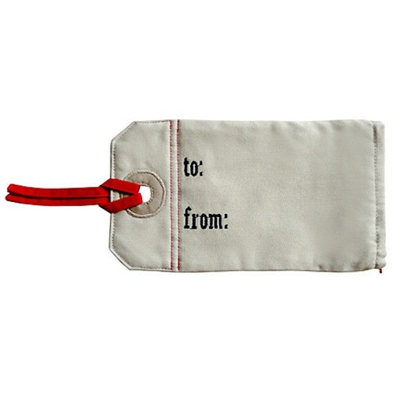 ON SALE - Zip Pouch - Gift Tag Pouch (To You From Me)