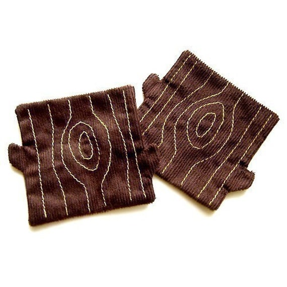 Tree Stump fabric COASTERS, Pair Of Coasters, Fabric Coaster Set, brown coasters, tree coasters, tree trunk coasters, housewarming gift