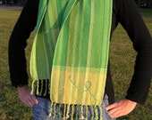 Handwoven long scarf - shades of green