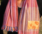 Handwoven short scarf - Orange with blue