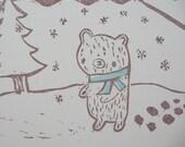 Snow Bear Takes a Walk Print
