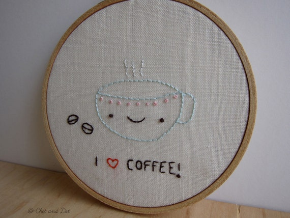 I Love Coffee Embroidered Art