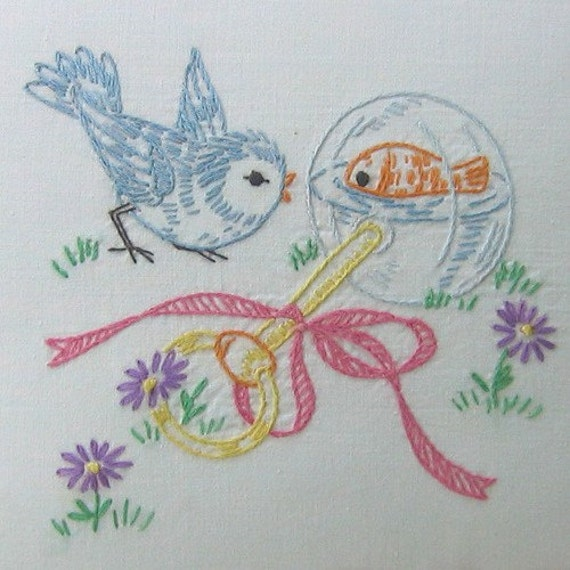 Vintage embroidery pattern pdf lil birdies by primrose on etsy