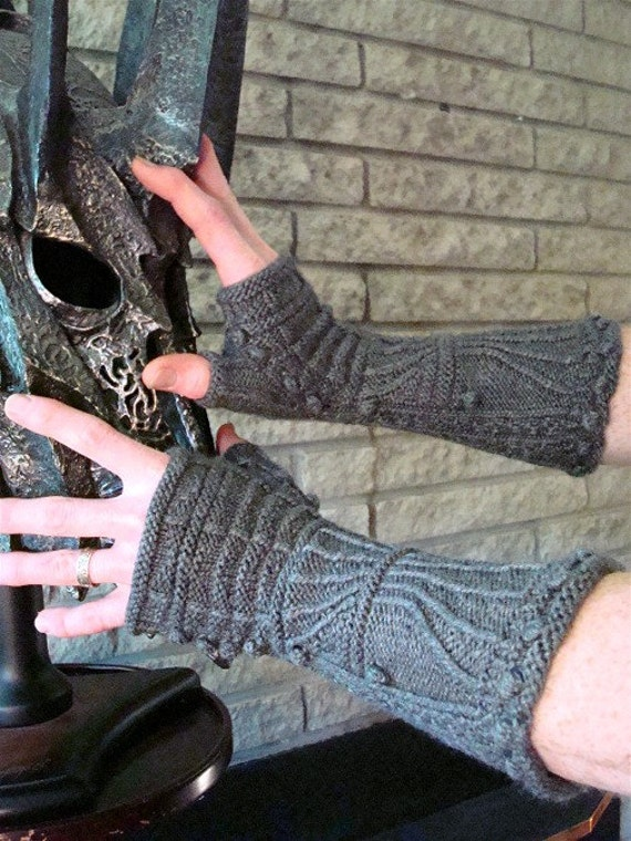 Cap Knitting Patterns : Gillaspie Gothic Gauntlets Knitting Pattern Medieval