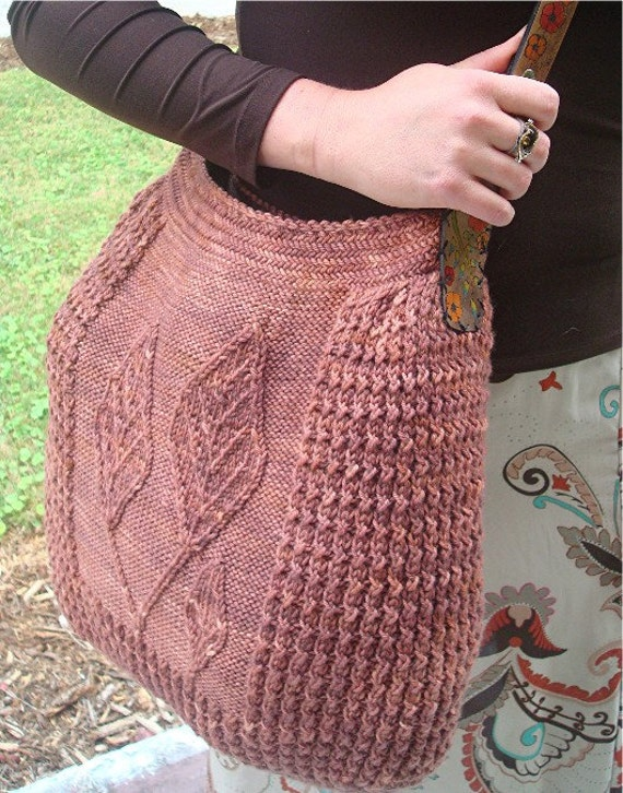 Knitted Bags Pattern : Leaf Sprouts Hobo Bag Knitting Pattern by countingsheepstudio