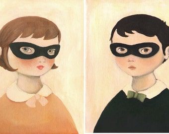 Bandit Portrait Pair Print Set by Emily Winfield Martin