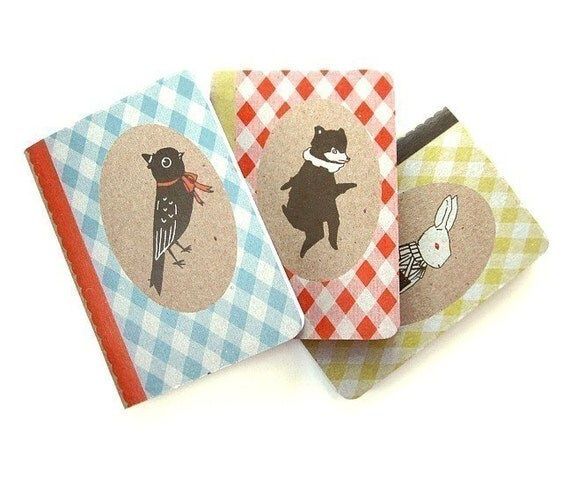 Bear, Bunny, Bird Pocket Notebook Three Pack