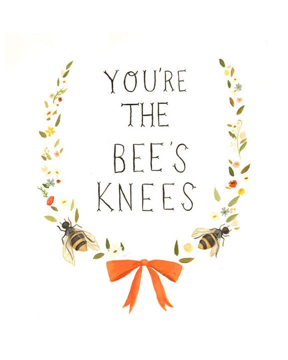 Hand-lettered Typography Art - The Bee's Knees Print 8x10 by Emily Winfield Martin
