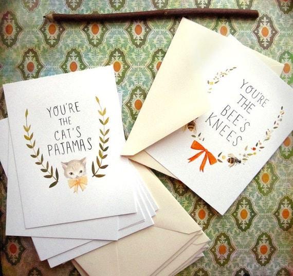 Postcard Set: Bee's Knees & Cat's Pajamas by Emily Winfield Martin