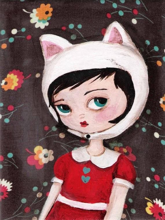 Wistful White Catgirl Print