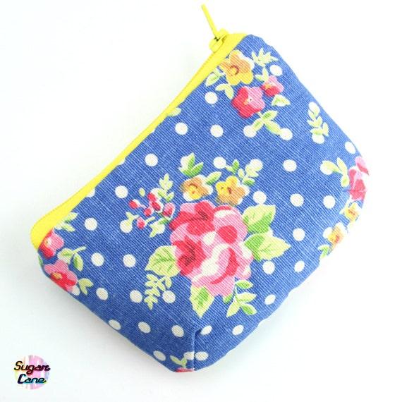 CLEARANCE SALE - Petite Zipper Coin Purse - Rosie Rosie Azure Blue