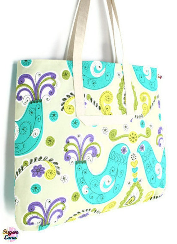 CLEARANCE SALE - Sydney Large Over The Shoulder Bag - Peacocks Turquoise and Lime