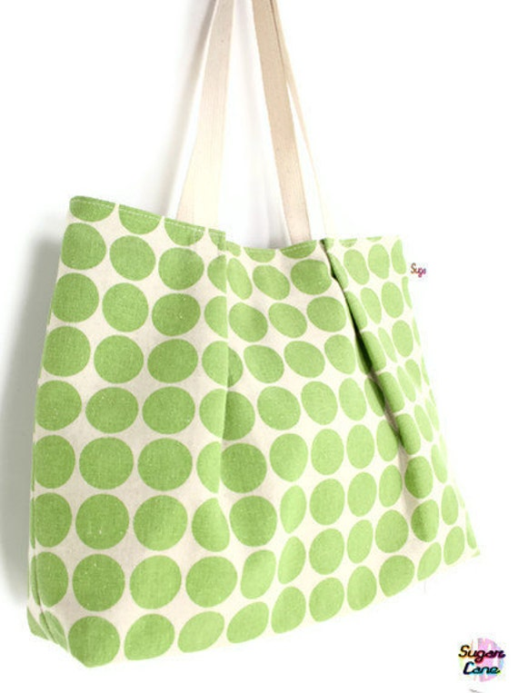 CLEARANCE SALE - Polka Dotty Carry All Tote - Apple Green
