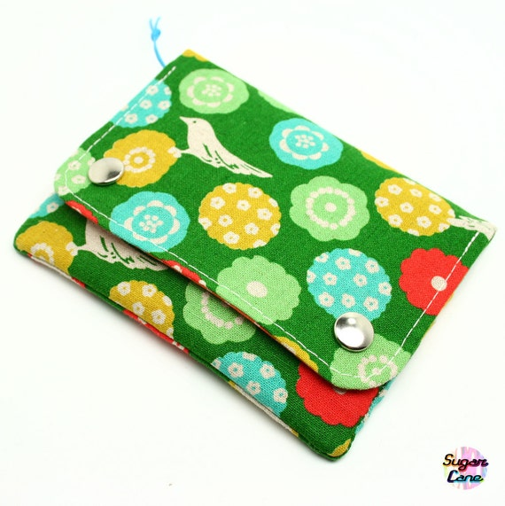 Happy Holidays SALE 25% - Multi Pocket Organizer Wallet - Birds & Flowers