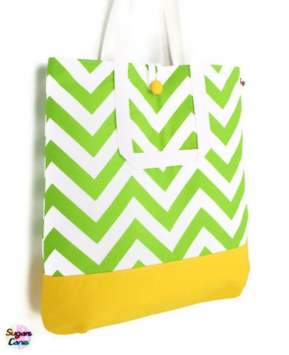 CLEARANCE SALE - Zig Zag Handmade Medium Handbag - Lime Zest