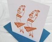 cheer boys : happy birthday - gocco screenprinted folded card