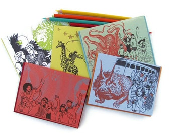 5 pack : super awesome sampler - 5 Gocco screenprinted folded cards and envelopes